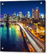 New York City Lights Blue Acrylic Print