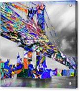 New York City Manhattan Bridge Pure Pop Blue Acrylic Print