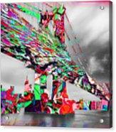 New York City Manhattan Bridge Pure Pop Red Acrylic Print