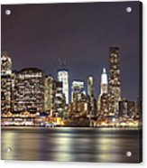 New York City - Manhattan Waterfront At Night Acrylic Print