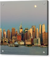 New York City Moonrise I Acrylic Print by Clarence Holmes