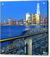 New York City Skyline From Liberty State Park In Jersey City New Jersey #3 Acrylic Print