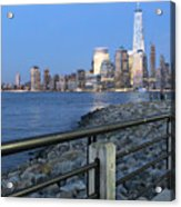 New York City Skyline From Liberty State Park In Jersey City New Jersey #4 Acrylic Print