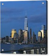 New York City Skyline From Liberty State Park In Jersey City New Jersey Acrylic Print
