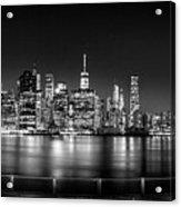 New York City Skyline Panorama At Night Bw Acrylic Print