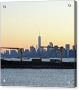 New York City Skyline With Passing Container Ship Acrylic Print
