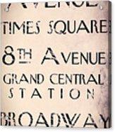 New York City Street Sign Acrylic Print