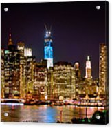 New York City Tribute In Lights And Lower Manhattan At Night Nyc Acrylic Print