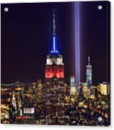 New York City Tribute In Lights Empire State Building Manhattan At Night Nyc Acrylic Print