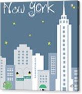 New York City Vertical Skyline - Empire State At Dusk Acrylic Print