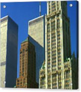 New York City - Woolworth Building And World Trade Center Acrylic Print