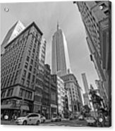 New York Fifth Avenue Taxis Empire State Building Black And White Acrylic Print
