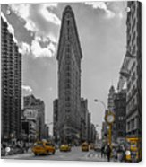 New York - Flatiron Building And Yellow Cabs - 2 Acrylic Print
