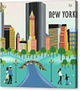 New York Horizontal Skyline - Central Park Acrylic Print