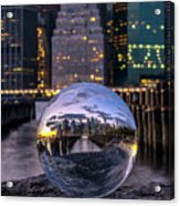 New York In Glass Ball Acrylic Print