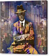 New York Man Seated City Background 1 Acrylic Print