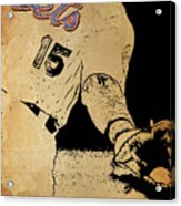 New York Mets 15 Red And Blue Vintage Cards On Brown Background Acrylic Print