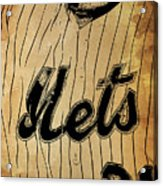New York Mets 21 Red And Blue Vintage Cards On Brown Background Acrylic Print