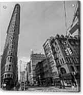 New York Ny Flatiron Building Fifth Avenue Black And White Acrylic Print