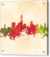 New York Orange Skyline Acrylic Print