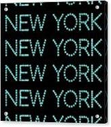New York - Pale Blue On Black Background Acrylic Print