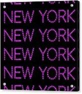 New York - Pink On Black Background Acrylic Print