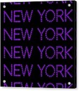 New York - Purple On Black Background Acrylic Print
