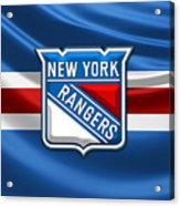 New York Rangers - 3d Badge Over Flag Acrylic Print