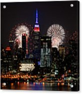 New York Skyline And Fireworks Acrylic Print