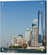 New York Skyline And Sailboat Acrylic Print