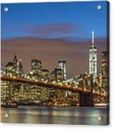 New York Skyline - Brooklyn Bridge Panorama - 2 Acrylic Print