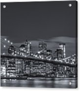 New York Skyline - Brooklyn Bridge Panorama - 4 Acrylic Print