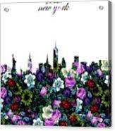 New York Skyline Floral 3 Acrylic Print