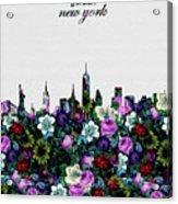 New York Skyline Floral 4 Acrylic Print
