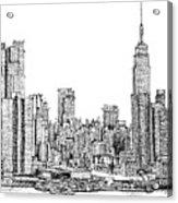 New York Skyline In Ink Acrylic Print