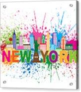 New York Skyline Paint Splatter Text Illustration Acrylic Print
