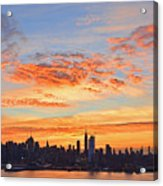 New York Skyline Sunrise Clouds And Color Acrylic Print