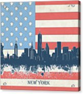 New York Skyline Usa Flag 4 Acrylic Print