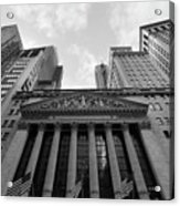 New York Stock Exchange Black And White Acrylic Print