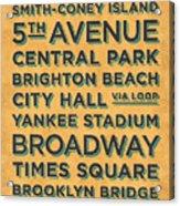 New York Train Stations Retro Vintage - Black On Yellow Acrylic Print