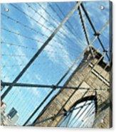 New York Usa  Brooklyn Bridge Towards Manhattan. Acrylic Print