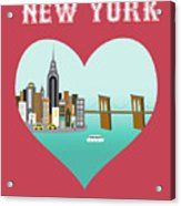 New York Vertical Skyline - Heart Acrylic Print