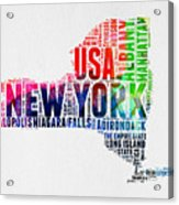 New York Watercolor Word Cloud Map Acrylic Print