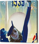 New York, World Fair, Firework, Woman In Blue Dress Acrylic Print