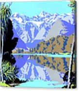 New Zealand Lake Matheson Vintage Travel Poster Acrylic Print