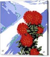 New Zealand Rata Blossom Vintage Travel Poster Acrylic Print