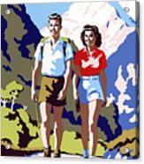 New Zealand Vintage Travel Poster Restored Acrylic Print