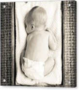 Newborn Baby In Crate Filtered Acrylic Print