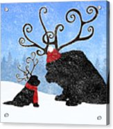 Newfie Reindeer Acrylic Print
