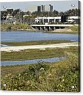 Newport Estuary And Nearby Businesses Acrylic Print